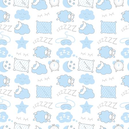 Blue sleep time sketch seamless vector pattern.