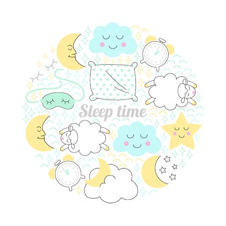 Sleep time sketch illustrationr circle vector.