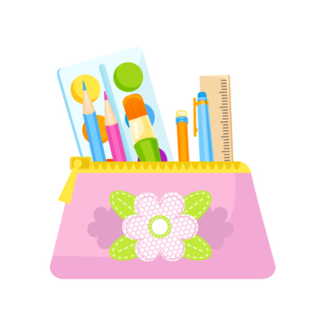 Pencil case gil with school supplies vector. Back to school.