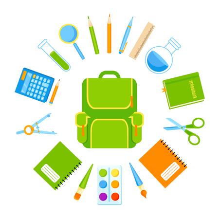 Backpack with school tools vector set. Back to school Vektorgrafik