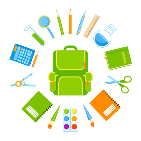 Backpack with school tools vector set. Back to school Illustration
