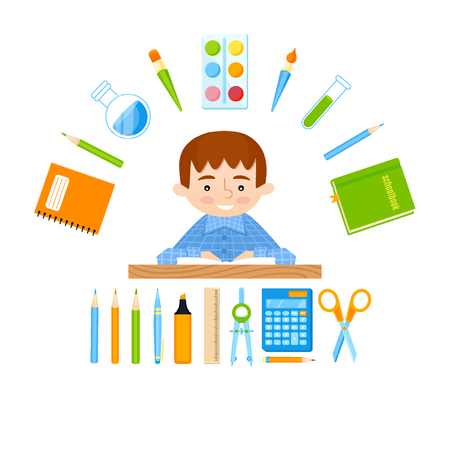 Schoolboy at the school desk and school tools vector set. Back to school background
