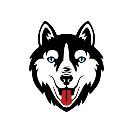 Diseño de vector blanco y negro de perro husky. Ilustración de vector