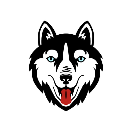 Husky dog black and white vector design.