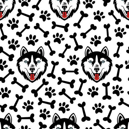 Husky dog black and white vector seamless pattern. Illustration