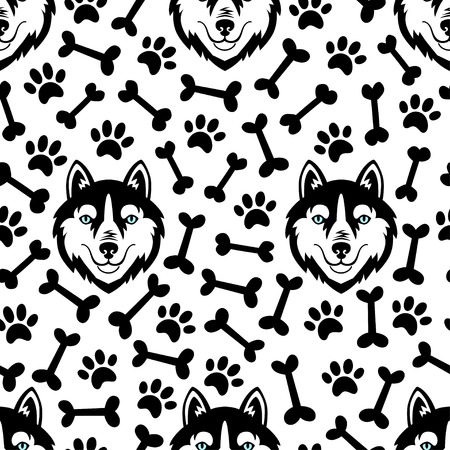 Husky head dog vector seamless pattern.