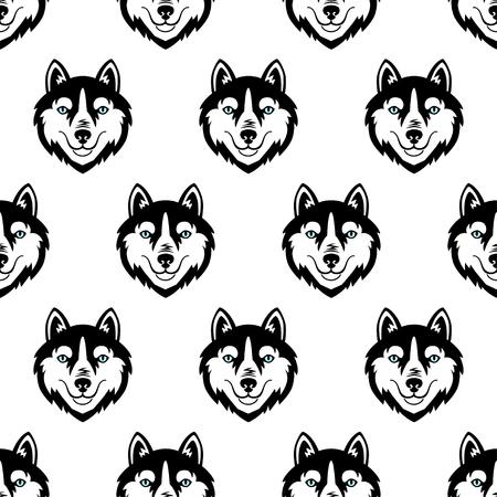 Husky cabeza perro blanco y negro vector de patrones sin fisuras.