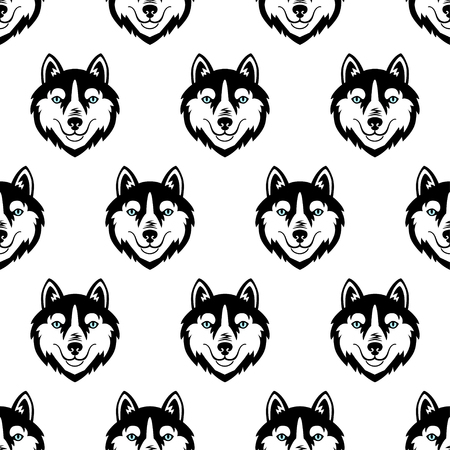Husky head dog black and white vector seamless pattern.