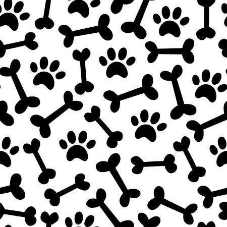 Dog paw and bown vector seamless pattern