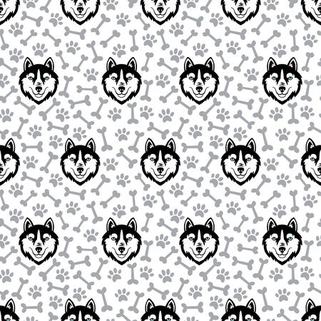 Husky black head dog vector seamless pattern.