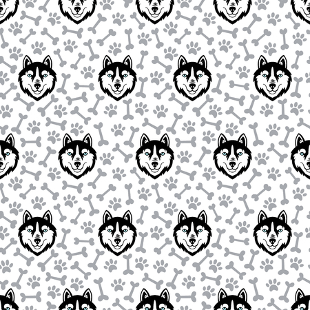 Husky black head dog vector seamless pattern.