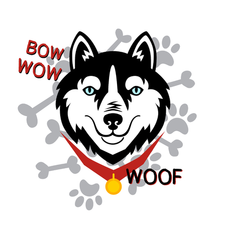 Husky head dog woof, bone, paw vector design.