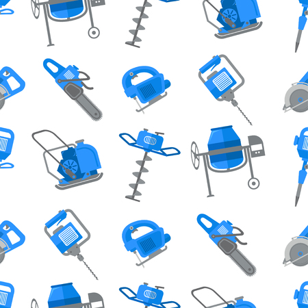 Construction tool vector seamless pattern. Building equipment.