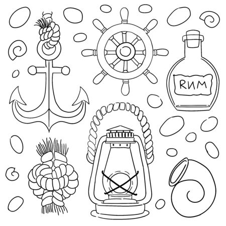 Sea icons vector set. Hand drawn isolated objects. Icons in sketch style. Marine theme Illustration