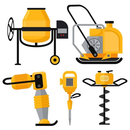Construction Equipment vector icons set in flat style. Vibrating rammer electric disc gas drill jackhammer chainsaw concrete mixer