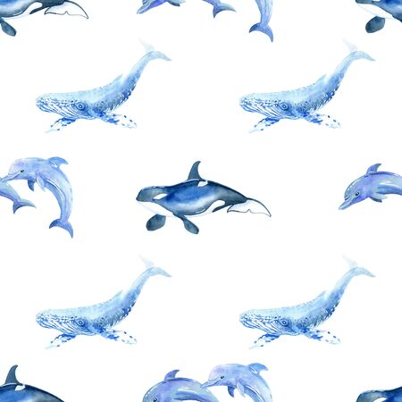 Dolphin, Shark, Whale, killer whale watercolor hand painted seamless pattern.