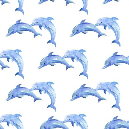 Dolphin watercolor hand painted seamless pattern. Sea background.