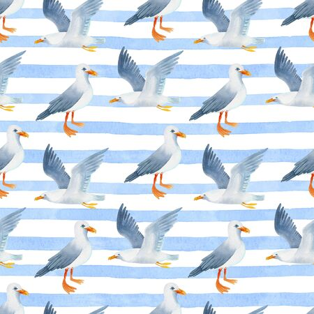 Seagull on a striped background watercolor hand painted seamless pattern. Zdjęcie Seryjne