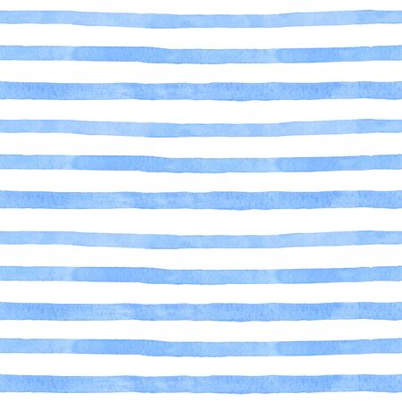 Sea strip watercolor hand painted seamless pattern. Blue Sea background.