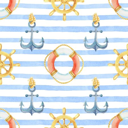 Anchor, steering wheel, life buoy on a striped background watercolor hand painted seamless pattern.