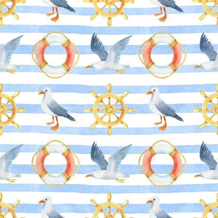 steering wheel life buoy, seagull on a striped background watercolor hand painted seamless pattern.