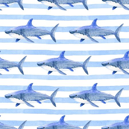 Shark on a striped background watercolor hand painted seamless pattern.