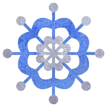Blue and silver snowfloke watercolor hand painted illustration.