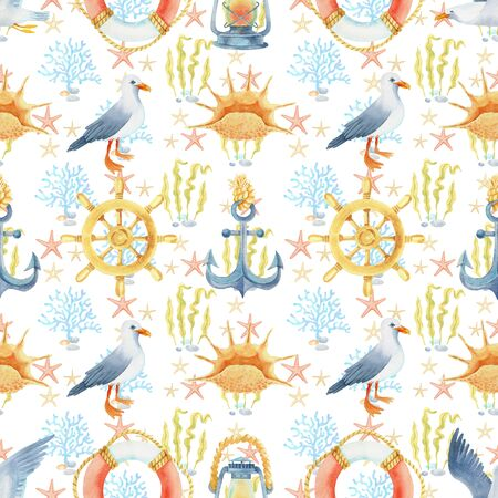 Anchor, old lamp, lifebuoy, steering wheel watercolor hand painted seamless pattern.
