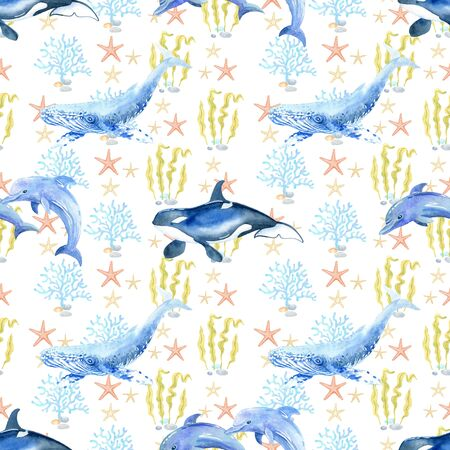 dolphin, killer whale, orca, whale, shark, watercolor hand painted seamless pattern.