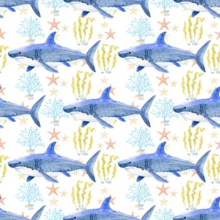 shark watercolor hand painted seamless pattern.