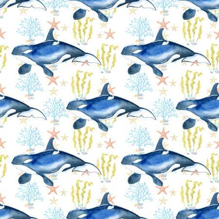 orca watercolor hand painted seamless pattern.