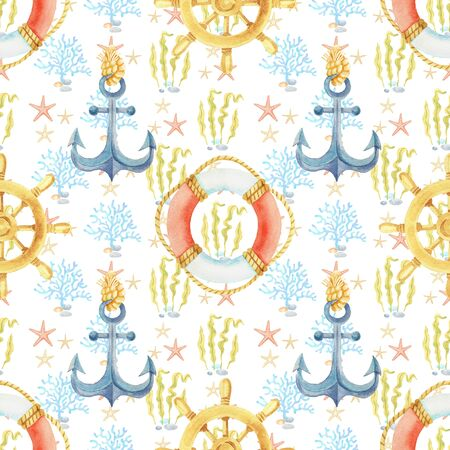 Anchor, steering wheel, life buoy watercolor hand painted seamless pattern.