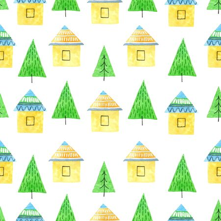 house and tree watercolor hand painted seamless pattern. 스톡 콘텐츠