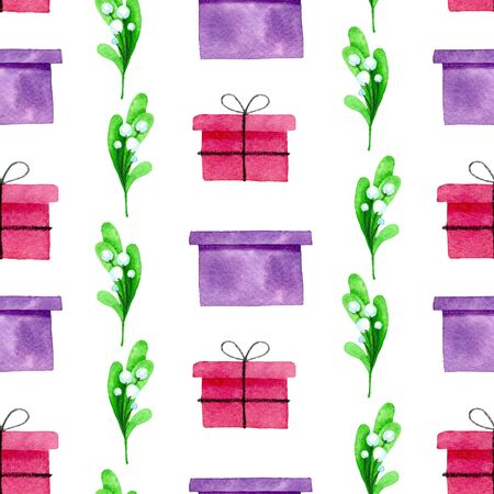 gift and mistletoe watercolor hand painted seamless pattern. 스톡 콘텐츠