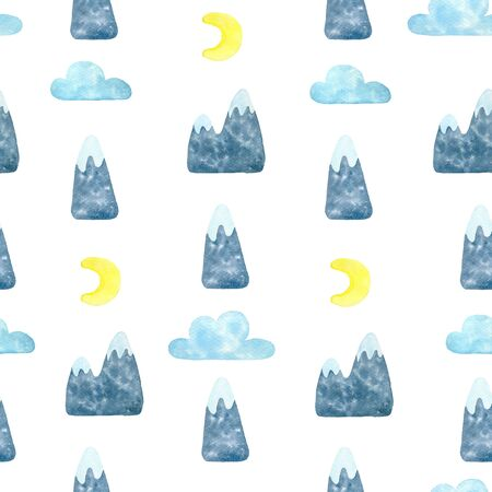 mountain and cloud watercolor hand seamless pattern.