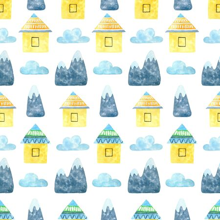 House and mountain watercolor hand painted seamless pattern.
