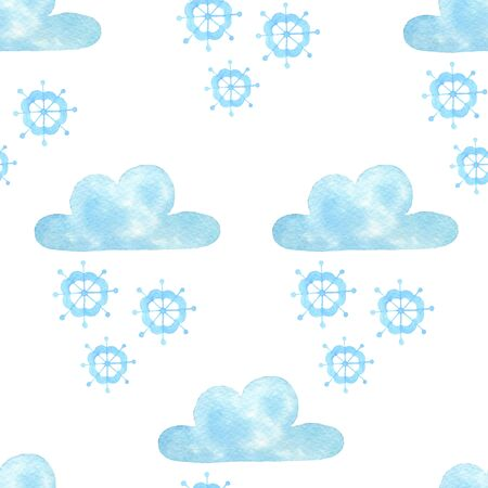 Cloud watercolor hand painted seamless pattern.