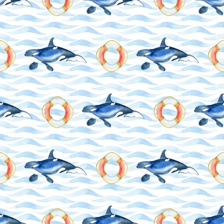 orca and life buoy watercolor hand painted seamless pattern. 스톡 콘텐츠