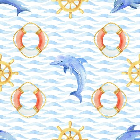 Dolphin, steering wheel and life buoy watercolor hand painted seamless pattern.
