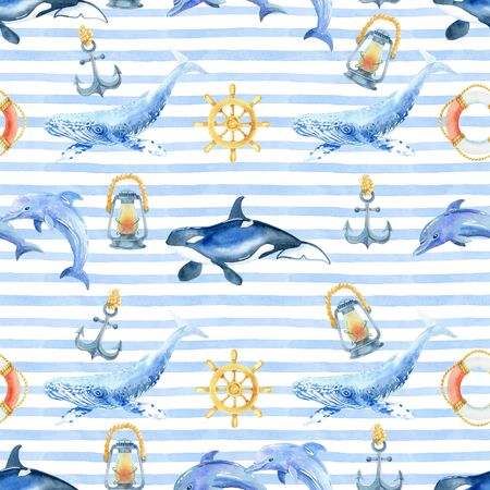 whale, dolphin, orca watercolor hand painted seamless pattern.