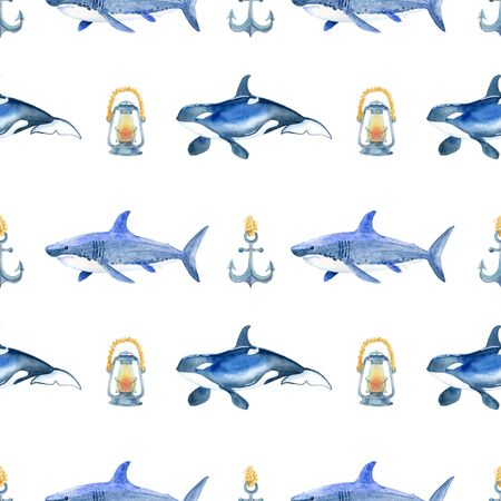 Shark, orca watercolor hand painted seamless pattern. 스톡 콘텐츠
