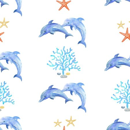 Dolphin and Seaweed watercolor hand painted seamless pattern.