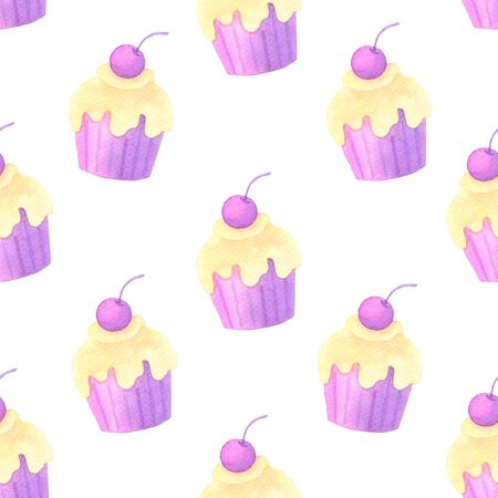 Cake and confetti hand painted watercolor seamless pattern.