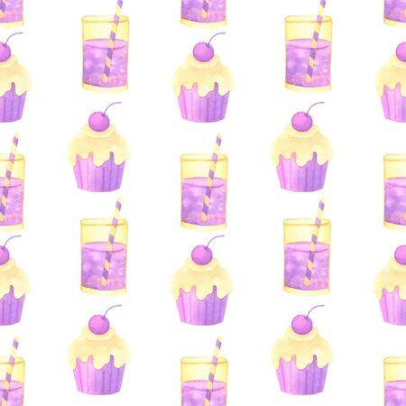 cake and cocktail hand painted watercolor seamless pattern. 스톡 콘텐츠