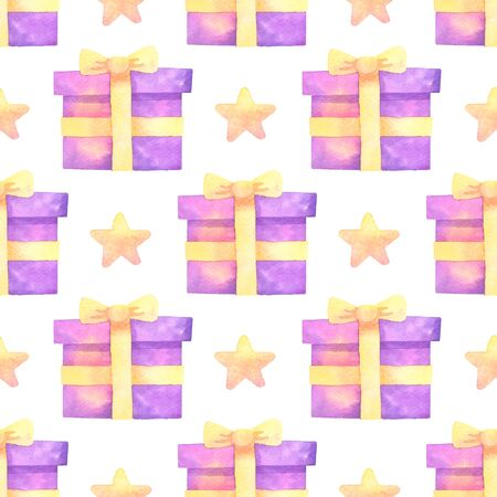 gift and star hand painted watercolor seamless pattern.