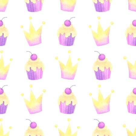 cake and crown hand painted watercolor seamless pattern.