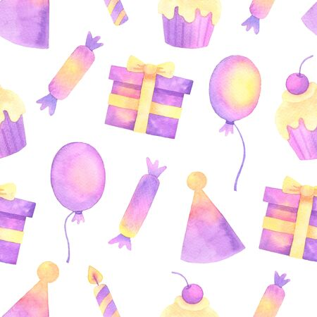ballon and confetti hand painted watercolor seamless pattern.