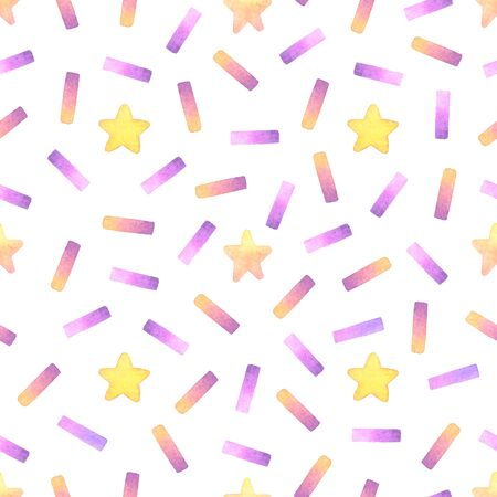 confetti and star hand painted watercolor seamless pattern.