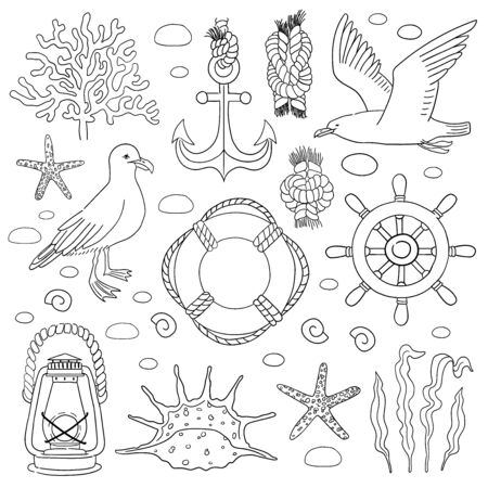 Sea hand draw sketch vector set. Icons in sketch style