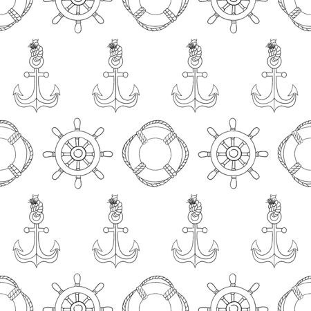 Steering wheel and lifebuoy and anchor hand draw sketch vector seamless pattern.